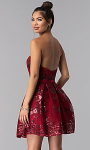 Image of short strapless sequin-mesh Alyce homecoming dress. Style: AL-A2650 Detail Image 3