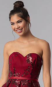 Image of short strapless sequin-mesh Alyce homecoming dress. Style: AL-A2650 Detail Image 2