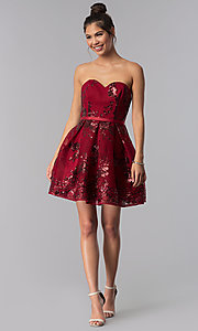 Image of short strapless sequin-mesh Alyce homecoming dress. Style: AL-A2650 Detail Image 8