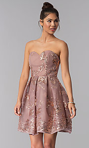 Image of short strapless sequin-mesh Alyce homecoming dress. Style: AL-A2650 Front Image
