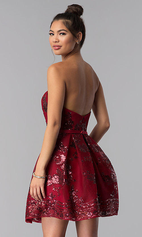 Image of short strapless sequin-mesh Alyce homecoming dress. Style: AL-A2650 Detail Image 4