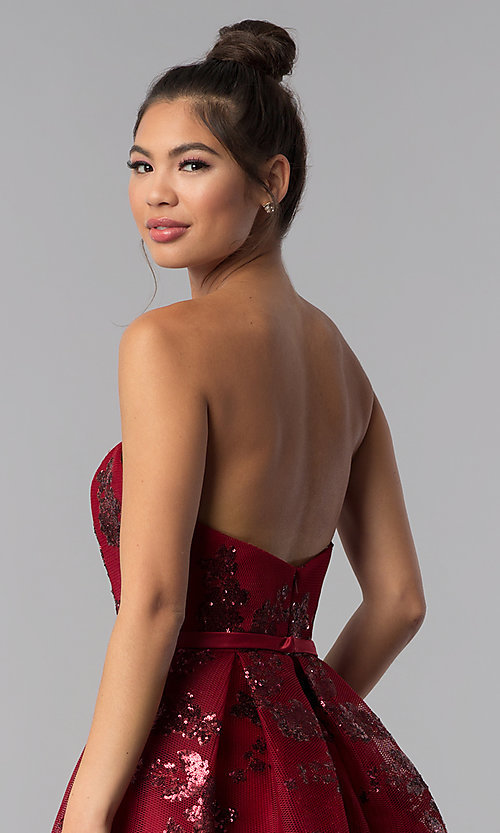 Image of short strapless sequin-mesh Alyce homecoming dress. Style: AL-A2650 Detail Image 1