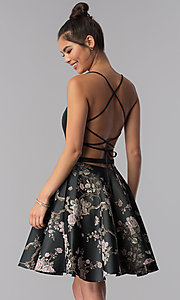 Image of short black embroidered-skirt Alyce homecoming dress. Style: AL-3778 Back Image