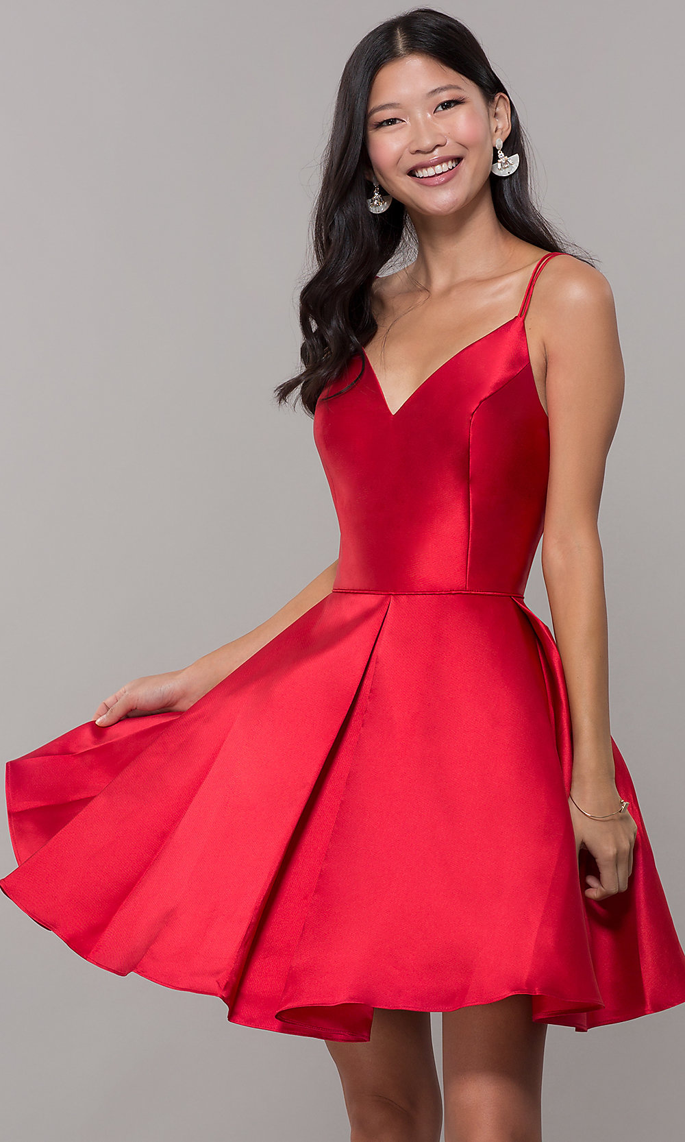 Alyce Double-Strap V-Neck Homecoming Dress - PromGirlRed Dresses
