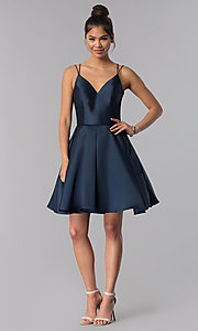 Image of double-strap v-neck Alyce short homecoming dress. Style: AL-3764 Detail Image 2