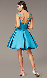 Image of double-strap v-neck Alyce short homecoming dress. Style: AL-3764 Detail Image 8