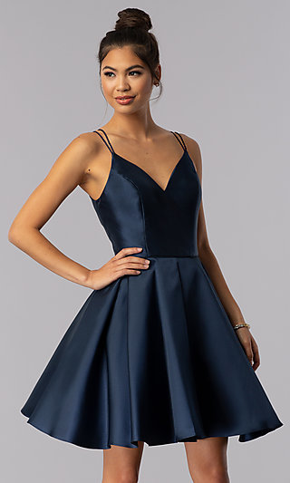 Double-Strap V-Neck Alyce Short Homecoming Dress 90554a37c