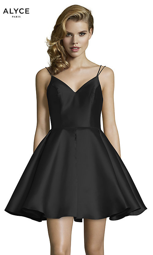 Image of double-strap v-neck Alyce short homecoming dress. Style: AL-3764 Detail Image 7