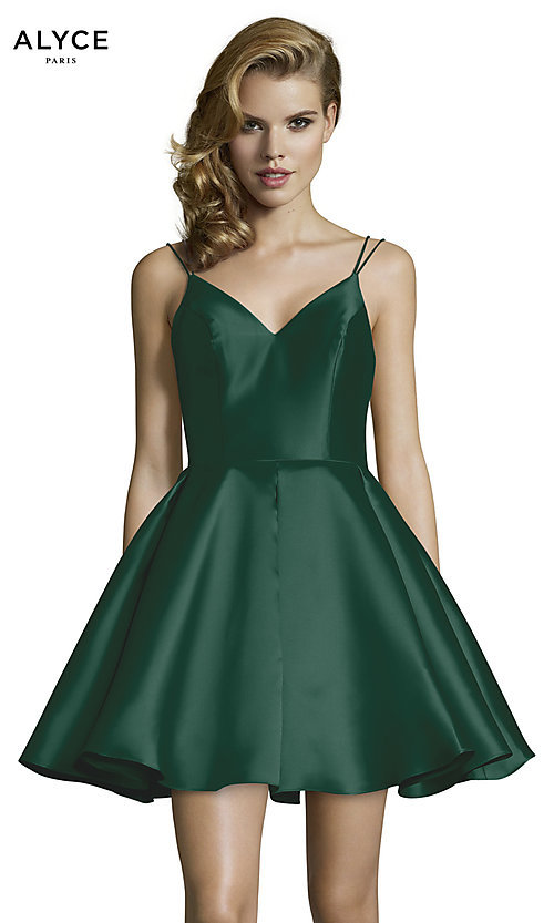 def8cd5617f Image of double-strap v-neck Alyce short homecoming dress. Style  AL