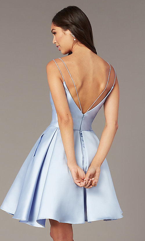 Image of double-strap v-neck Alyce short homecoming dress. Style: AL-3764 Back Image