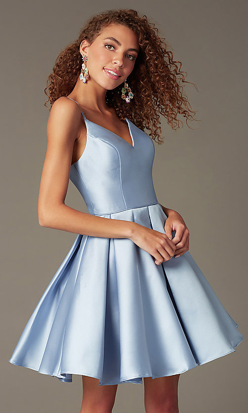Image of double-strap v-neck Alyce short homecoming dress. Style: AL-3764 Detail Image 1