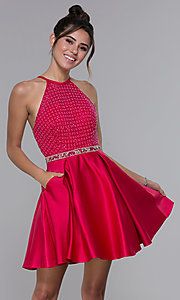 Image of satin cherry red high-neck homecoming dress. Style: MF-E2542 Front Image