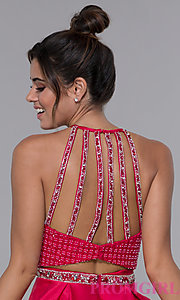 Image of satin cherry red high-neck homecoming dress. Style: MF-E2542 Detail Image 2
