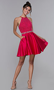 Image of satin cherry red high-neck homecoming dress. Style: MF-E2542 Detail Image 3