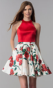 Image of high-neck homecoming dress with short print skirt. Style: MF-E2551 Front Image