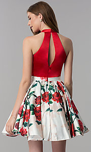 Image of high-neck homecoming dress with short print skirt. Style: MF-E2551 Back Image