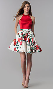 Image of high-neck homecoming dress with short print skirt. Style: MF-E2551 Detail Image 3