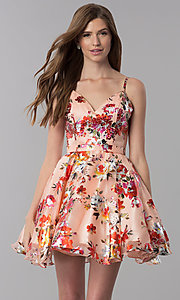 Image of red-floral-print short v-neck homecoming dress. Style: MF-E2519 Front Image