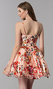 Image of red-floral-print short v-neck homecoming dress. Style: MF-E2519 Back Image
