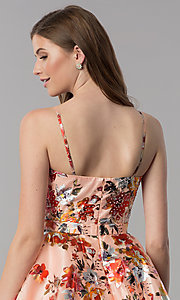 Image of red-floral-print short v-neck homecoming dress. Style: MF-E2519 Detail Image 2