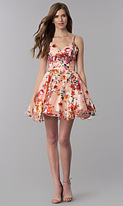 Image of red-floral-print short v-neck homecoming dress. Style: MF-E2519 Detail Image 3