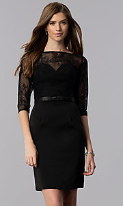 Image of short lace-bodice homecoming dress with sleeves. Style: MF-E2088 Front Image