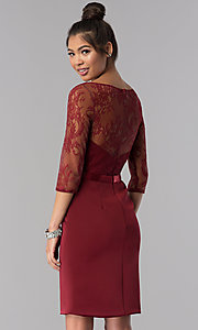 Image of short lace-bodice homecoming dress with sleeves. Style: MF-E2088 Back Image
