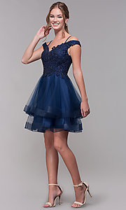 Image of tiered-tulle-skirt short homecoming dress. Style: MF-E2546 Detail Image 3