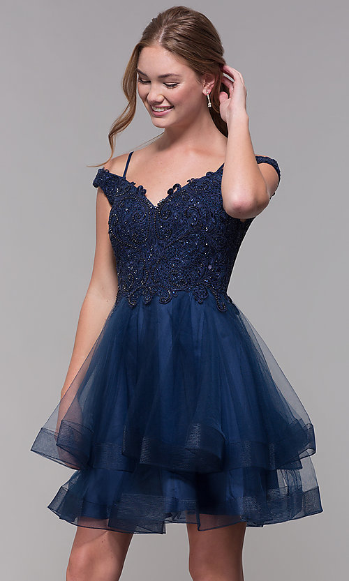 821189a3a7 Image of tiered-tulle-skirt short homecoming dress. Style: MF-E2546