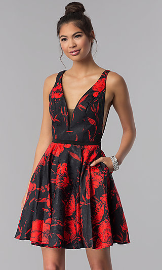 Floral-Print Short V-Neck Homecoming Dress