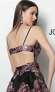 Image of black short print homecoming dress by Jovani. Style: JO-64090 Detail Image 2
