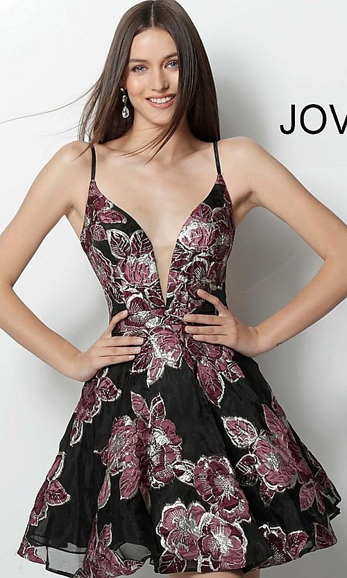 Image of black short print homecoming dress by Jovani. Style: JO-64090 Front Image