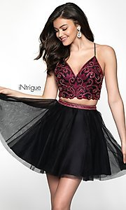 Image of babydoll two-piece short homecoming dress. Style: BL-IN-467 Front Image