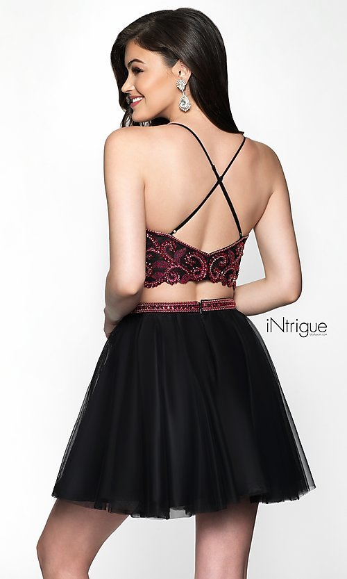 Image of babydoll two-piece short homecoming dress. Style: BL-IN-467 Back Image