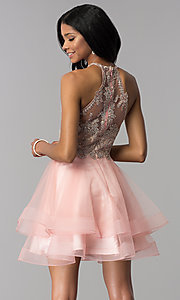 Image of short tiered-tulle-skirt homecoming dress by Blush. Style: BL-IN-472 Front Image