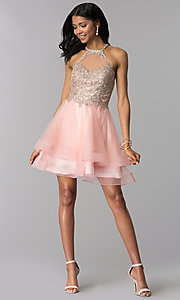 Image of short tiered-tulle-skirt homecoming dress by Blush. Style: BL-IN-472 Detail Image 3