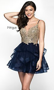 Image of sleeveless navy babydoll tulle homecoming dress. Style: BL-IN-473 Front Image