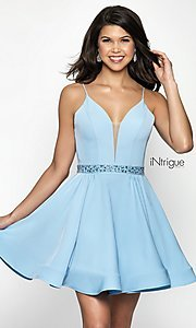 Image of iNtrigue by Blush homecoming dress with v-neckline. Style: BL-IN-478 Front Image