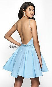 Image of iNtrigue by Blush homecoming dress with v-neckline. Style: BL-IN-478 Back Image