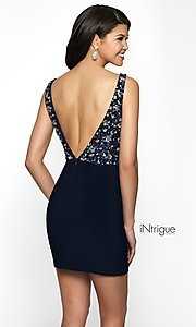 Image of short deep-v-neck homecoming dress with beads. Style: BL-IN-490 Back Image