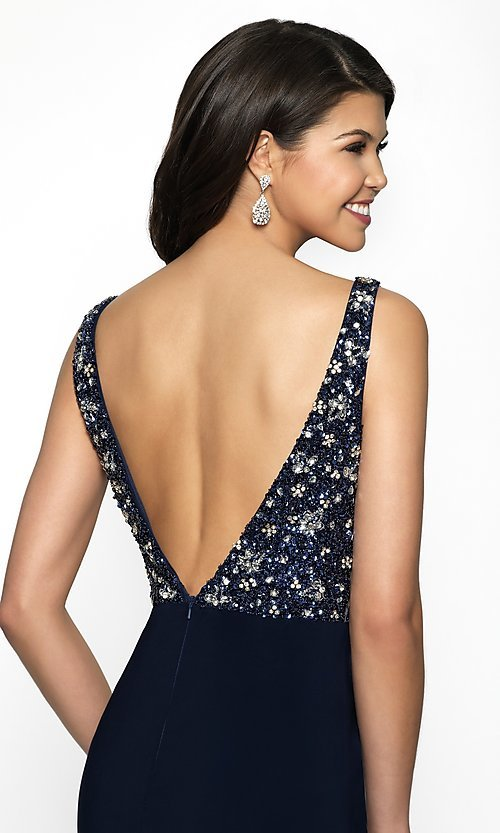 Image of short deep-v-neck homecoming dress with beads. Style: BL-IN-490 Detail Image 2