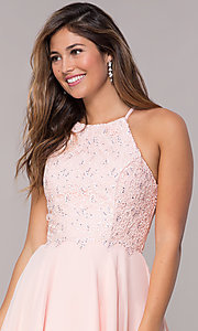 Image of short high-neck homecoming party dress by Alyce Style: AL-4050 Detail Image 1