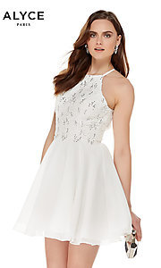 Image of short high-neck homecoming party dress by Alyce Style: AL-4050 Front Image