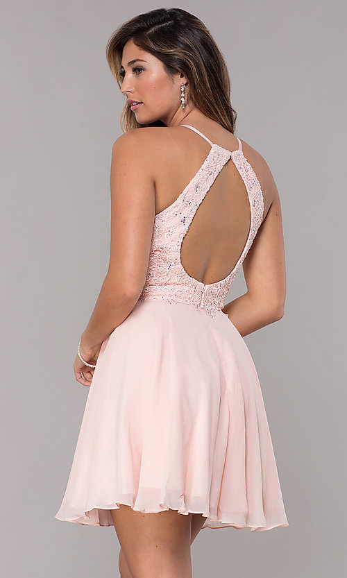 Image of short high-neck homecoming party dress by Alyce Style: AL-4050 Back Image