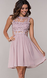 Image of mauve chiffon short homecoming dress by PromGirl. Style: SOI-PL-S15669 Front Image