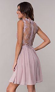 Image of mauve chiffon short homecoming dress by PromGirl. Style: SOI-PL-S15669 Back Image