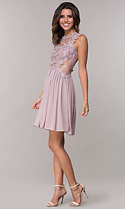 Image of mauve chiffon short homecoming dress by PromGirl. Style: SOI-PL-S15669 Detail Image 3