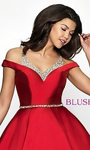 Image of fit-and-flare Blush cold-shoulder homecoming dress. Style: BL-C1104 Detail Image 1