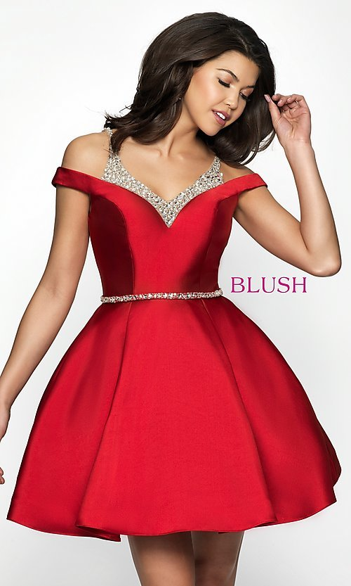 Image of fit-and-flare Blush cold-shoulder homecoming dress. Style: BL-C1104 Front Image
