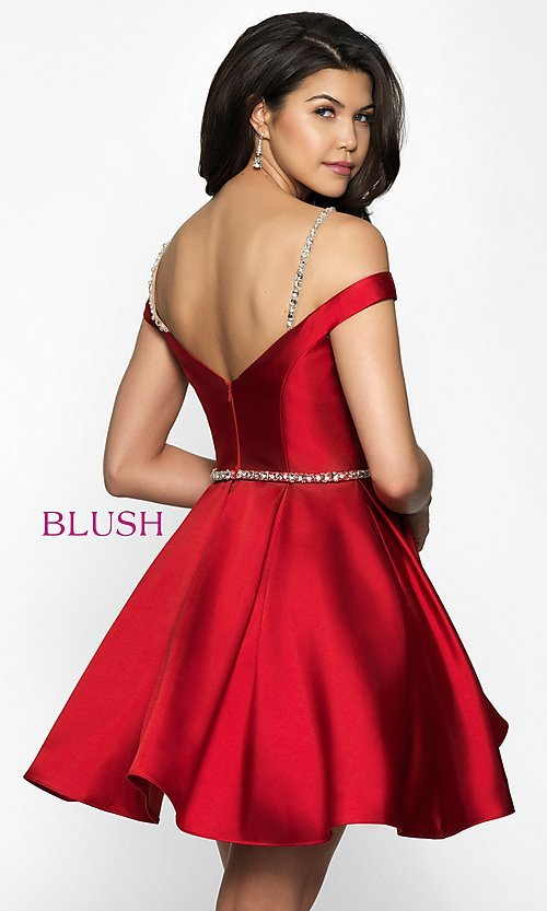Image of fit-and-flare Blush cold-shoulder homecoming dress. Style: BL-C1104 Back Image